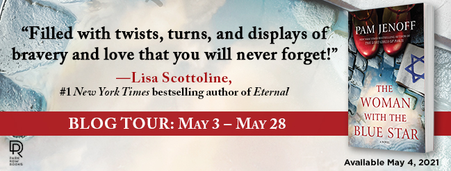 "Blog Tour Banner: THE WOMAN WITH THE BLUE STAR, book cover features wet cobblestone street, a pair of red t-strap ladies shoes, and a white armband with a blue Star of David embroidery; Quote: ""Filled with twists, turns, and displays of bravery and love that you will never forget!"" Lisa Scottoline, #1 New York Times bestselling author of ETERNAL"