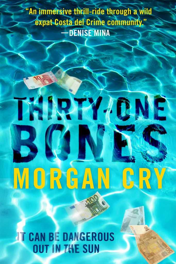 """Book Cover for THIRTY-ONE BONES by Morgan Cry; swimming pool/water background with assortment of Euros in the water; tagline """"It can be dangerous out in the sun"""""""