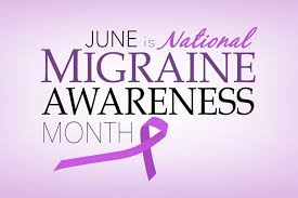 June is National Migraine Awareness Month on a purple background with a purple awareness ribbon