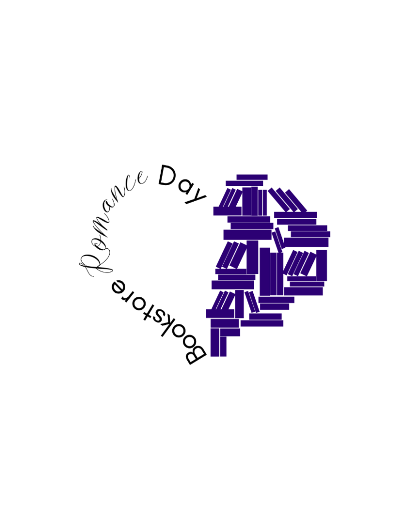 """Bookstore Romance Day logo, heart shape with """"Bookstore Romance Day"""" lettered forming the left side of the heart and stacks of books in indigo forming the right side of the heart."""